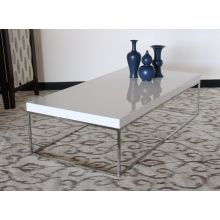 High Gloss White and Stainless Steel Rectangular Coffee Table