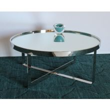 Large Round Chrome Coffee Table with Mirror Top