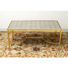 Gold Leaf Sabre Coffee Table With Antiqued Mirror Top