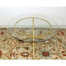 Gold Leaf Bamboo Coffee Table With Glass Top