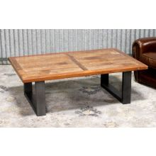 Metal Base Coffee Table With Teak Top