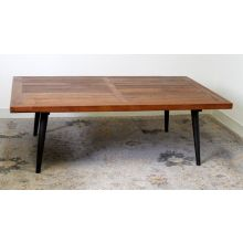Tapered Iron Leg Coffee Table With Pine Top