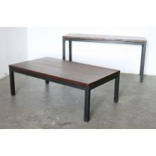 Modern Steel Coffee Table with Wood Top