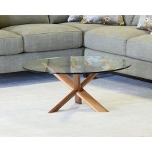 Glass Top Table With Modern Wooden Cross Base