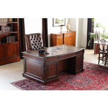 Mahogany Partners Desk with Leather Top