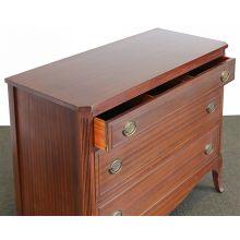 Sabre Leg Three Drawer Ribbon Mahogany Dresser circa 1940s