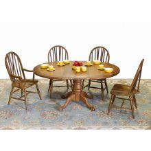 Oak Round Pedestal Base Table