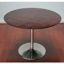 Walnut Top Round Dining Table with Nickel Base