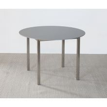 Round Dining Table with Metal Frame and Gray Top