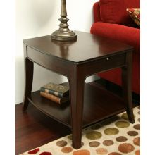 Transitional Walnut End Table with Pull-Out Shelf