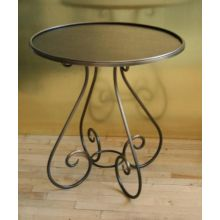 Antiqued Copper Round End Table with Scrolling Legs