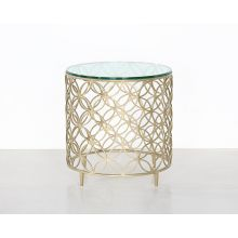 Gold Interlocking Circles End Table