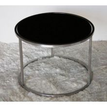 Steel and Black Painted Glass End Table