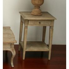 Limed Gray Oak End Table with Drawer