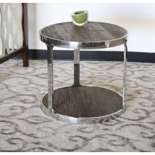 Round Reclaimed Elm and Stainless Steel End Table