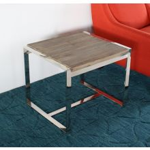 Reclaimed Wood and Stainless Steel End Table