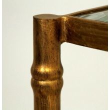 Gold Leaf Bamboo Side Table With Glass Top