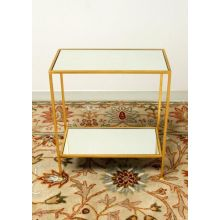 2-Tier Gold Leaf End Table With Mirrored Top