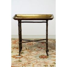 Antique Brass Bamboo Tray Table