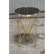 Brass Directoire End Table with Black Granite Top