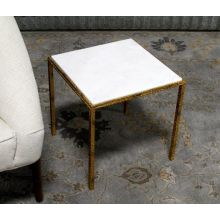 Hammered Gold Square End Table