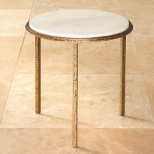 Hammered Gold Round End Table