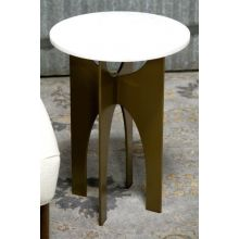 Bronze End Table With Reversible Base and Marble Top