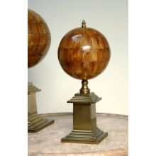 Small Faux Horn Sphere with Antique Brass Base