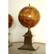 Large Faux Horn Sphere with Antique Brass Base