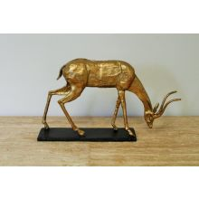 Gold Leaf Curved Horn Oryx Statue - Cleared Décor