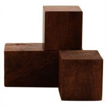 Set of 3 Dark Walnut Cubes