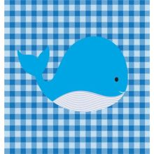 Checkered Blue Animal Whale 23W X 23H