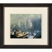 New York Harbor Watercolor I 36W x 32H