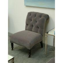 Petite Gray Velvet Tufted Slipper Chair with Nailhead Trim