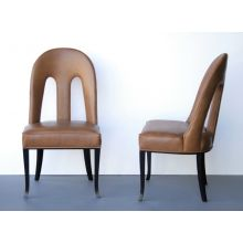 Oly Maude Side Chair with Bronze Leather Upholstery