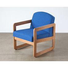 Natural Oak Lounge Chair in Blue Upholstery