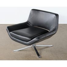 Vintage  Black Leather Lounge Chair on Splayed Chrome Base