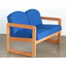 Natural Oak Loveseat in Blue Upholstery
