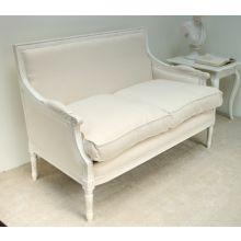 Antique White Linen Louis Square Back Loveseat