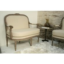 Louis Parlor Style Cream Linen Loveseat with Nailhead Trim