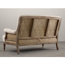 Deconstructed French Victorian Settee in Sand Belgian Linen