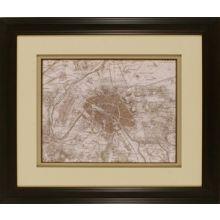 Sepia Map of Paris 26W x 22H