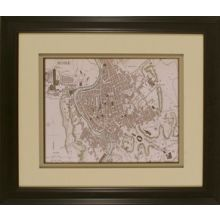 Sepia Map of Rome 26W x 22H