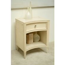 Cream Curved-Front Nightstand