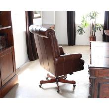Coffee Leather Tufted Executive Chair