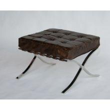 Cigar Leather Barcelona Style Ottoman