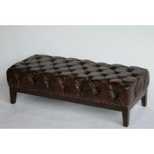 Austen Cigar Leather Tufted Ottoman