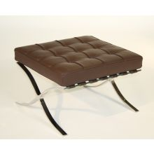 Dark Brown Leather Barcelona Style Ottoman