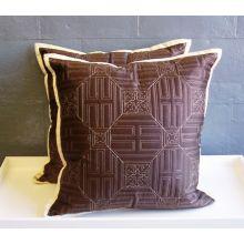Chocolate Brown & Beige Lattice Pattern Pillow