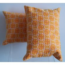 Orange and Yellow Geometric Pattern Pillow